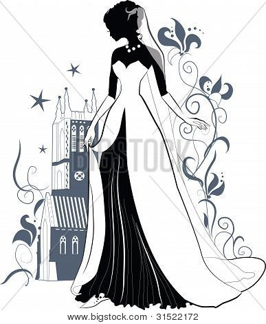 Ornate Bride  Silhouette