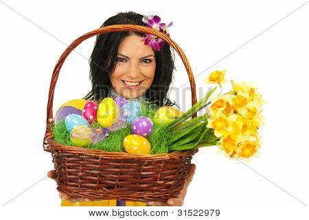 Happy Woman Giving Easter Basket
