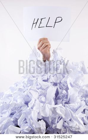 Businessman Overwhelmed By Paper Asks For Help