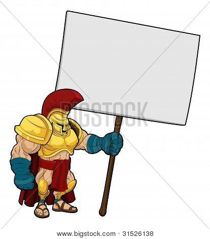 Tough Spartan Or Trojan Holding Sign Board