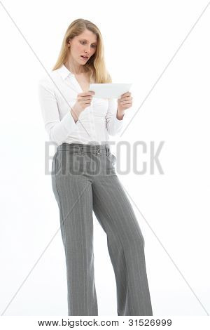 Dismayed Woman Reading A Letter