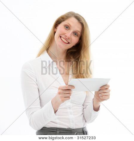 Alert Responsive Woman Looking At Camera