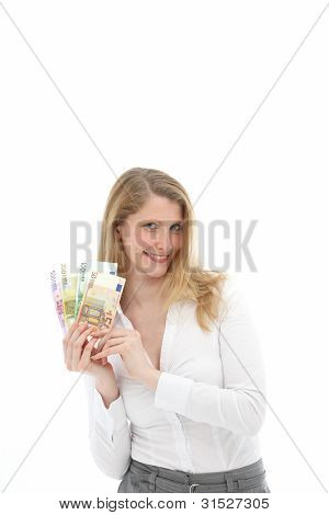 Successful Woman Showing Handful Of Money