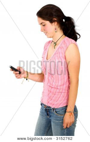 Casual Woman Sending An Sms Message