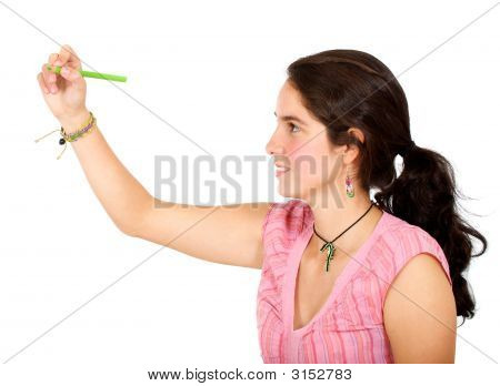 Girl Drawing On Screen