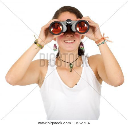Casual Girl Using Binoculars