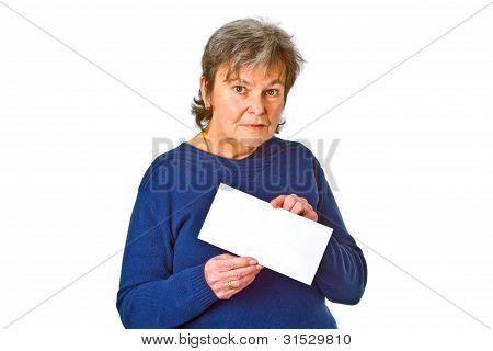 Female Senior Holding White Envelope