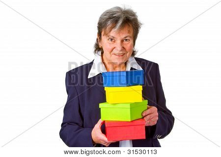 Femals Senior With Gift Boxes