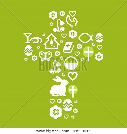Easter Stylized Cross Isolated On Green