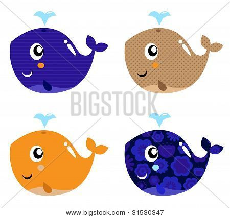 Cute Abstract Whale Set Isolated On White
