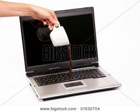 Coffee Spilled On Laptop Keyboard