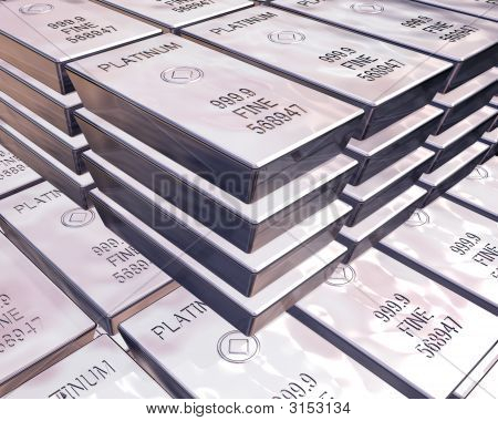 Stacks Of Platinum Bars