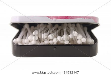 Cotton Sticks In Box In Heap