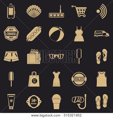 poster of Tourist Shop Icons Set. Simple Set Of 25 Tourist Shop Icons For Web For Any Design