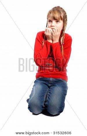 Scared Girl Hiding Face