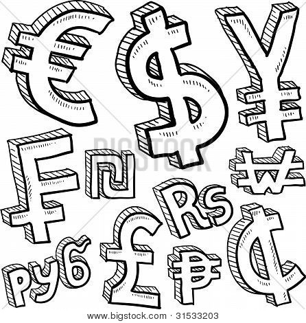 Currency symbol sketches