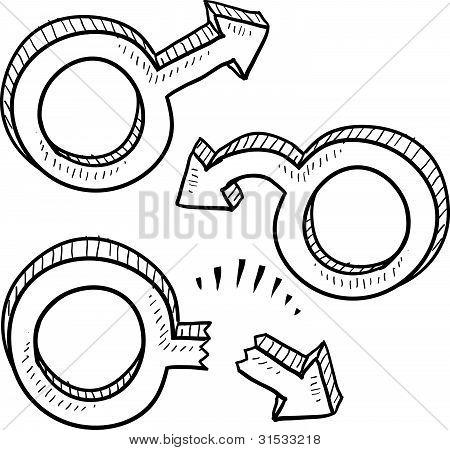 Male dysfunction gender symbols sketch