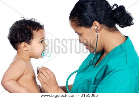 Young Pediatrician With Baby