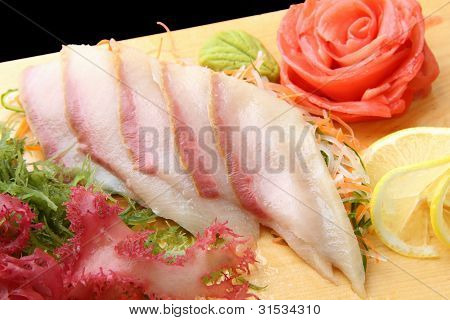 Sashimi Hamachi On A Board Closeup