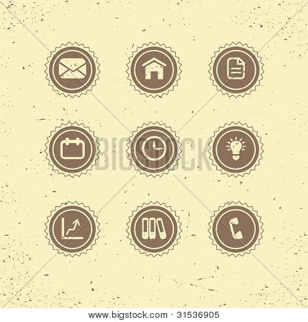 Set of retro icons: business theme.