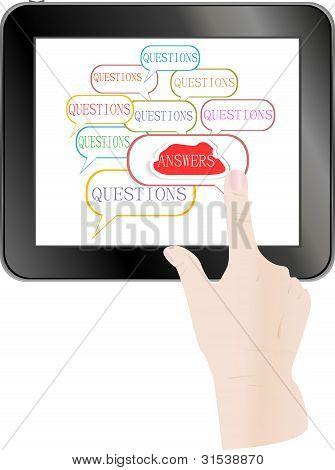 Nuvem de resposta de seleção de mão no Tablet Pc