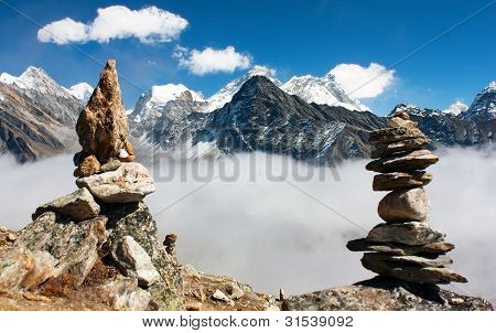 view of everest with stone mans from gokyo ri