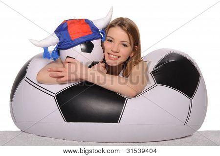 Happy Football Cheerleader With Ball