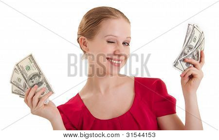 Beauty Funny Girl In A Red Blouse Winks, Holds The Money, American Dollars Isolated