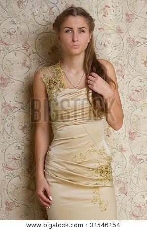 Beautiful Sad Girl In The Dress