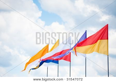 Triangular Flags In Wind