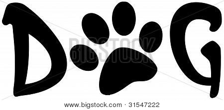 Paw Print In The Word Dog