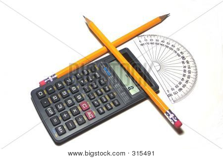 Calculator, Protractor, And Pencils