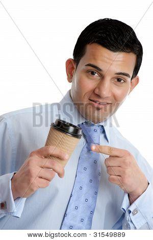 Empresário com um café para levar