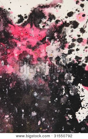 Black, White And Pink Abstract Brush Painting