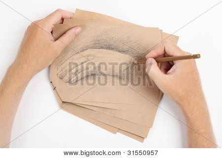 Man Hand Draw Picture With Palm On Brown Paper