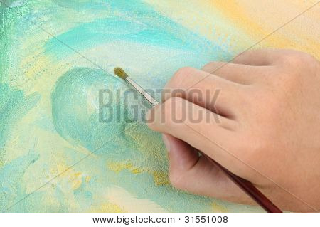 Man Hand Painting Multicolored Abstract Picture