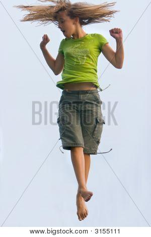 Trampoline Girl Jumping High