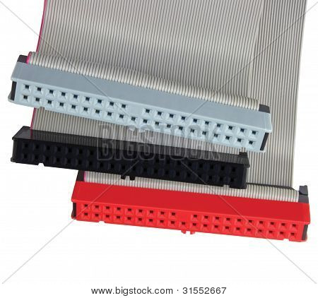 Ide Connectors And Ribbon Cables For Hard Drive On Pc Computer, Isolated, Red, Grey, Black Macro