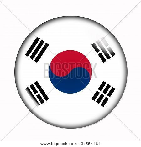 Button Flag Of South Korea