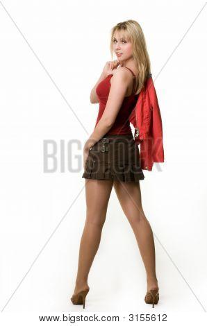 Frau im Minirock