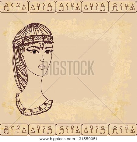 papel viejo con reina egipcia