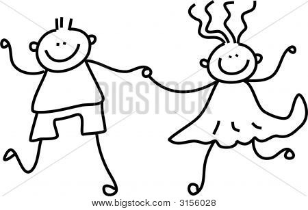 a little boy and girl holding hands - black and white line drawing
