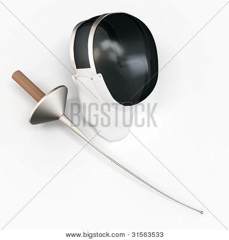 Espada e máscara 3D detalhados esgrimista