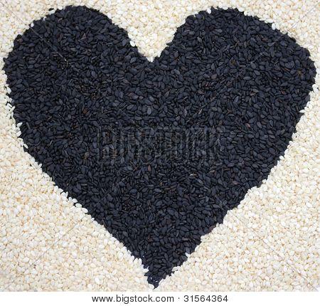 Heart of sesame seeds
