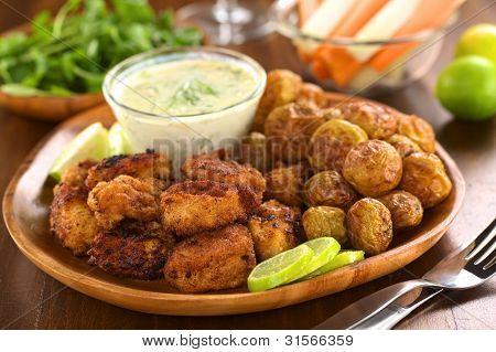 Fried Calamari with Baked Potato