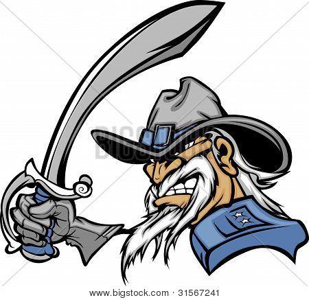Civil War General Mascot Holding Sword Vector Image