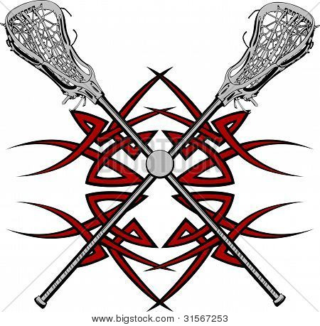 Palos de Lacrosse Vector gráfico plantilla