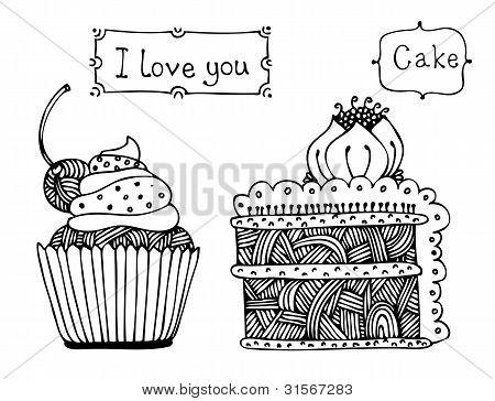 Vector Sweet Cake Set