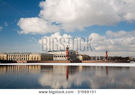 Arrow Of Vasilevsky Island In The Spring. St. Petersburg. Russia