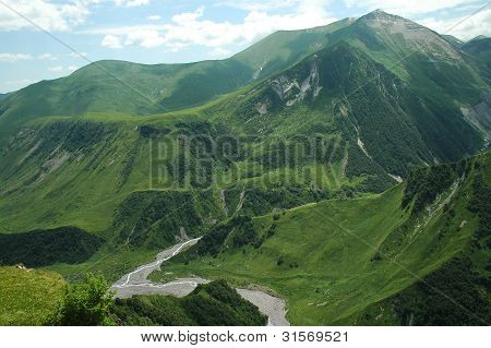 Georgian Military Highway, Caucasus mountains, border between Georgia and Russia